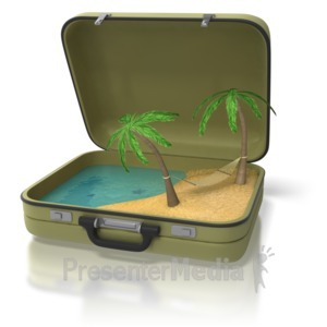 ID# 8640 - Beach Island In Suitcase - Presentation Clipart