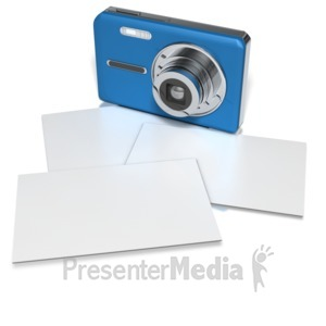 ID# 8685 - Compact Camera With Blank Photos - Presentation Clipart