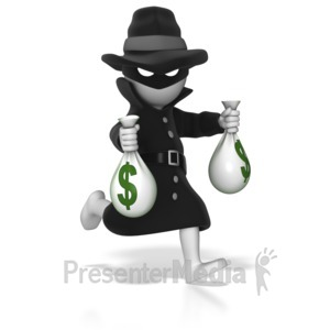 ID# 8688 - Thief Running With Money Bags - Presentation Clipart