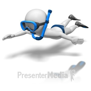 ID# 8690 - Stick Figure Snorkel Diving - Presentation Clipart
