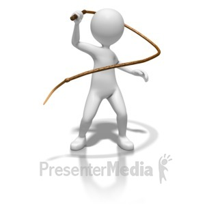 ID# 8755 - Stick Figure With Whip - Presentation Clipart