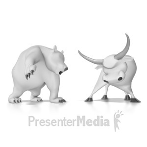 ID# 8769 - Wallstreet Bear and Bull - Presentation Clipart