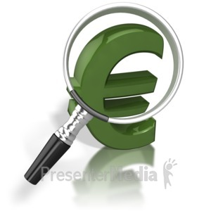 ID# 8774 - Magnified Euro - Presentation Clipart