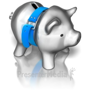 ID# 8776 - Piggy Bank Tightening Belt - Presentation Clipart
