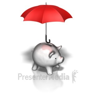 ID# 8783 - Piggy Bank Umbrella - Presentation Clipart