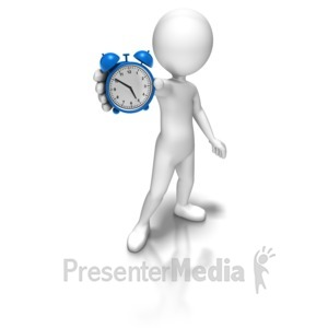 ID# 8795 - Stick Figure Holding Alarm Clock - Presentation Clipart
