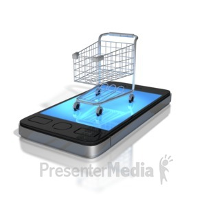 ID# 8799 -  Mobile Shopping - Presentation Clipart