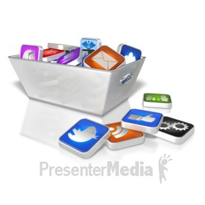 ID# 8805 - Bin Full Of App Icons - Presentation Clipart