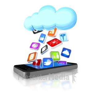 ID# 8814 - Apps Falling From Cloud Into Smart Phone - Presentation Clipart