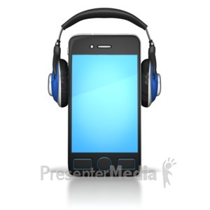 ID# 8816 - Smart Phone Wearing Headphones - Presentation Clipart