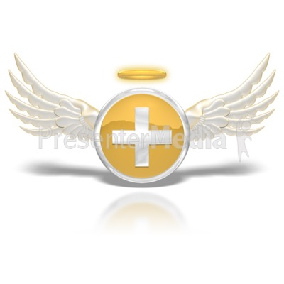 Positive Angel Button PowerPoint Clip Art
