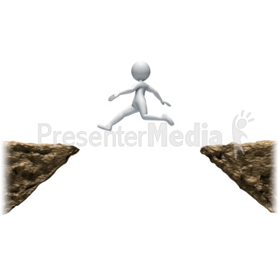 Stick Figure Leaping Ledges PowerPoint Clip Art