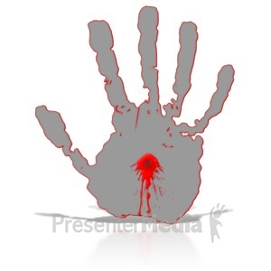 ID# 8876 - Hand with Blood in Middle - Presentation Clipart