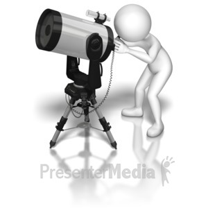 ID# 8914 - Stick Figure Telescope - Presentation Clipart