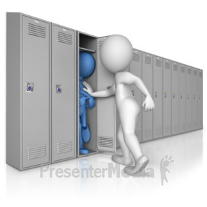 ID# 9025 - Stuffed into Locker by Bully - Presentation Clipart