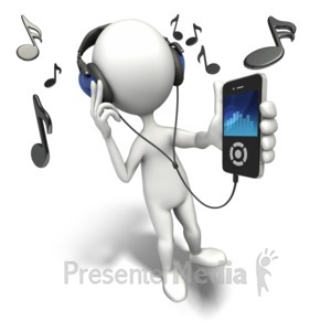 ID# 9026 - Listening To Music Player - Presentation Clipart