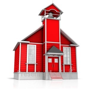 ID# 9041 - Old Fashion School House - Presentation Clipart