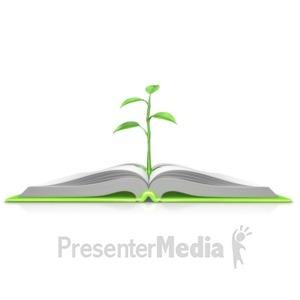 ID# 9084 - Plant Growing Out Of Book - Presentation Clipart