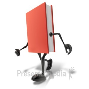 ID# 9087 - Walking Book Character - Presentation Clipart