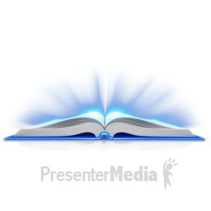 ID# 9090 - Book Open Light Shine Out - Presentation Clipart