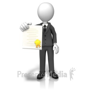 ID# 9102 - Man With Award Document - Presentation Clipart