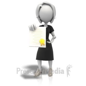 ID# 9108 - Woman With Award Document - Presentation Clipart