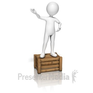 ID# 9143 - Stick Figure Talking On Crate - Presentation Clipart