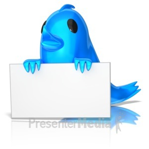 ID# 9158 - Birdie Holding Sign - Presentation Clipart