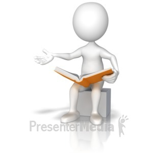 ID# 9167 - Figure Sitting Reading Out Loud - Presentation Clipart