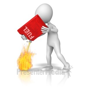 ID# 9183 - Adding Fuel To The Fire - Presentation Clipart