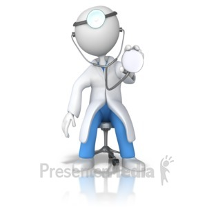 ID# 9190 - Doctor or Nurse Stethoscope Examine - Presentation Clipart