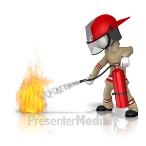 ID# 9204 - Firefighter Fire Extinguish - Presentation Clipart