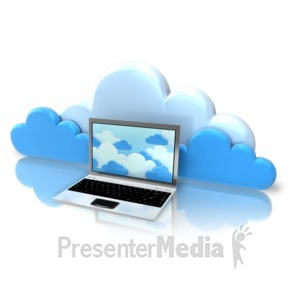 ID# 9211 - Laptop Cloud Computing - Presentation Clipart