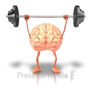 ID# 9217 - Exercising Weights Brain - Presentation Clipart