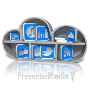 ID# 9230 - Cloud Shelf with App Icons - Presentation Clipart