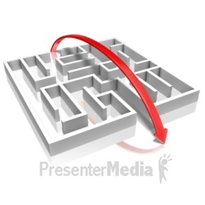 ID# 9232 - Arrow Over Maze - Presentation Clipart