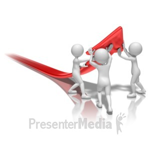 ID# 9273 - Stick Figures Lift Arrow - Presentation Clipart