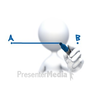 ID# 9276 - Stick Figure Drawing A To B - Presentation Clipart