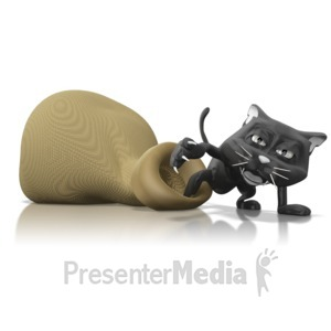 ID# 9300 - The Cats Out Of The Bag - Presentation Clipart
