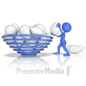 ID# 9325 - Figure Putting All Eggs In One Basket - Presentation Clipart