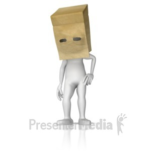 ID# 9429 - Paper Bag Over Head - Presentation Clipart