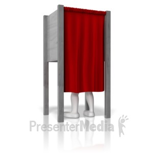 ID# 9435 - Stick Figure In Voting Booth - Presentation Clipart