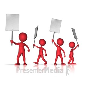 ID# 9442 - Group of Protesters - Presentation Clipart