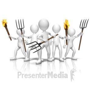 ID# 9451 - Group With Torches And Pitchforks - Presentation Clipart