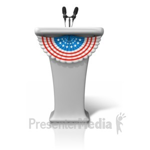 ID# 9458 - Podium With Stars Stripes - Presentation Clipart