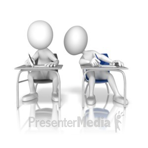 ID# 9485 - Looking Over Cheating - Presentation Clipart