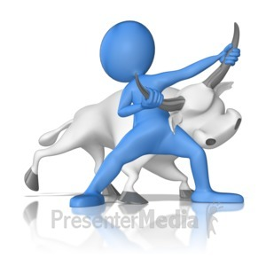 ID# 9518 - Bull By The Horns - Presentation Clipart