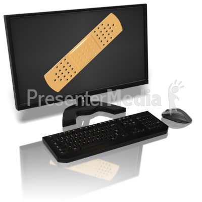 Computer Monitor With Bandaid PowerPoint Clip Art