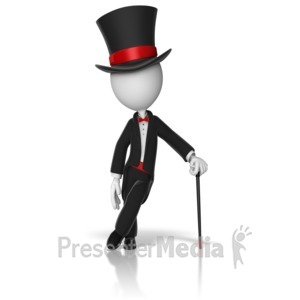 ID# 9530 - Classy Stick Figure Top Hat And Cane - Presentation Clipart