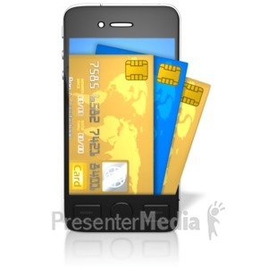 ID# 9582 - Credit Cards Coming Out Of Screen - Presentation Clipart